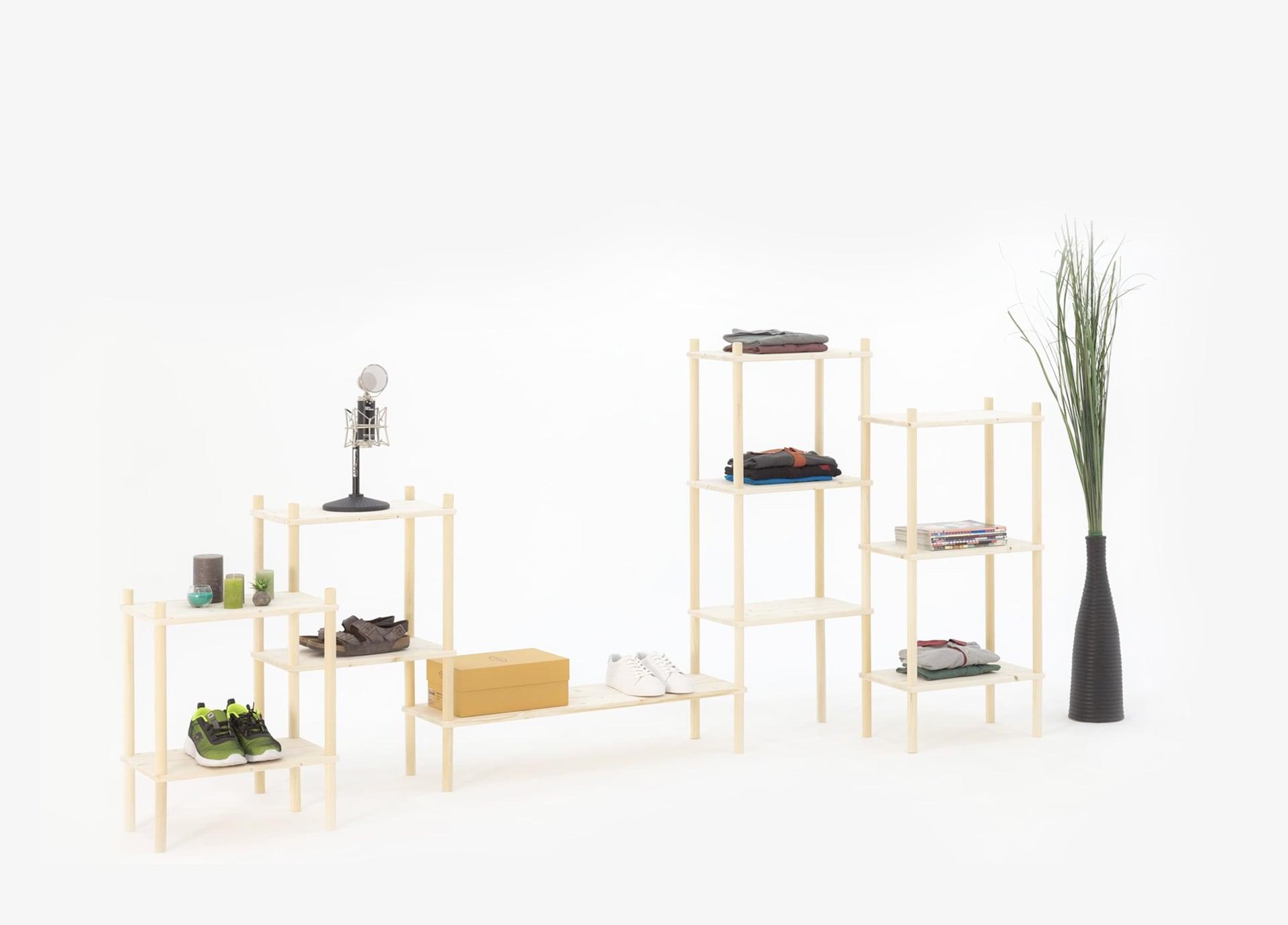 Scaffale fai-da-te in legno componibile | Scaffale italiano componibile che si monta senza attrezzi | Soluzione Kompo