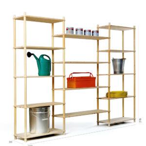 Composizione fai-da-te in legno per magazzino | Kompo Tondo | Soluzione Kompo