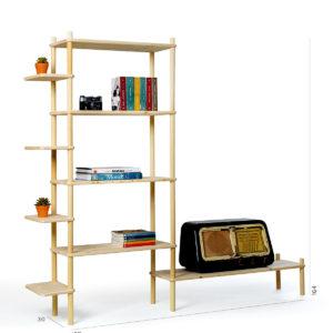 Composizione fai-da-te in legno per soggiorno | Kompo Tondo | Soluzione Kompo